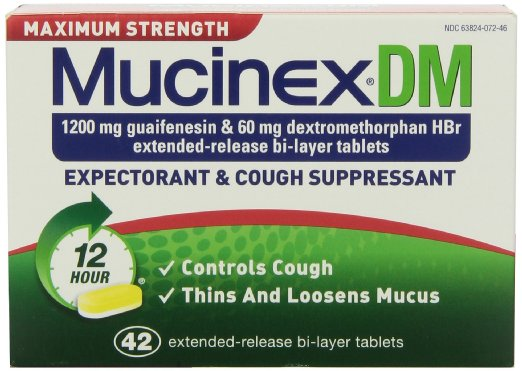 Mucinex DM Maximum Strength 12-Hour Expectorant and Cough Suppressant Tablets, 42 Count